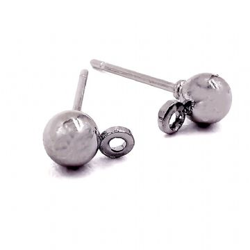 Rhodium Plated Stud Round Earring with ring 4mm x 6mm x 10